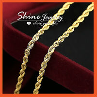 24K PLAIN GOLD FILLED SOLID MENS WOMENS 3MM TWIST ROPE CHAIN LONG NECKLACE GIFT
