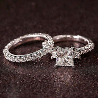2.00 Ct Princess Cut Diamond Engagement Ring Wedding Set In 10K Real White Gold