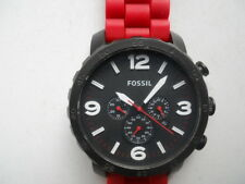 Fossil chronograph men's Red rubber band quartz & battery Analog watch.Jr-1422