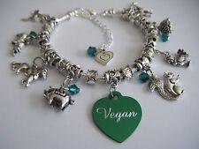 VEGAN 'For The Animals' Charm Bracelet Cruelty Free Promoting Veganism