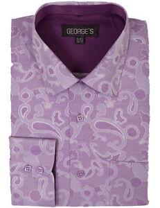 Men's Cotton Blend Paisley Design Classic Fit Casual Dress Shirt AH625