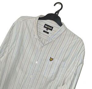 Men's LYLE & SCOTT Premium Blue Stripe Pattern OXFORD COTTON Shirt *SLIM* XXL