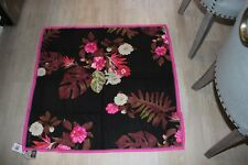 "NWT Vince Camuto 100% Twill Silk Scarf Black and Hot Pink 35"" X 35"" Retail $58"