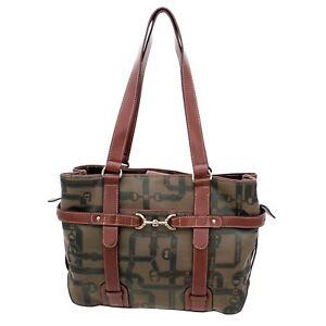 EA Etienner Aigner Ladies Green and Brown Tote Handbag Purse