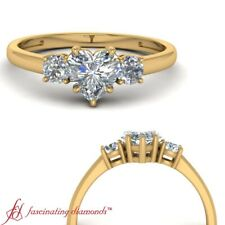 3/4 Carat Heart Diamond Past Present Future Engagement Ring In 18K Yellow Gold