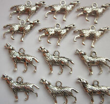 8 Howling Wolves Wolf Charms Silver Tone Metal