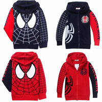 Kids Spiderman Hoodies Hooded Sweatshirts Baby Boy Zip Jacket Coats Pullover Top