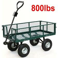 Cart Yard Garden Utility Wagon Dump Lawn Heavy Duty Wheelbarrow Trailer Steel