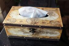Retro Vintage Facial Bathroom Tissue Box Cover Holder Home Decor World Map