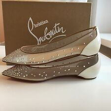 NEW CHRISTIAN LOUBOUTIN Follies Strass Crystal Ballet White Patent Shoe EU40