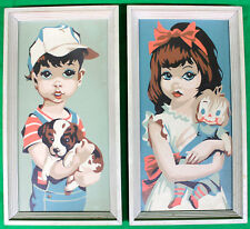 Original Vintage Large Eyed Girl and Boy Paint By Number 1950s-60s #2