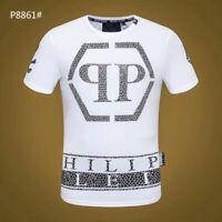 PHILIPP PLEIN Black/White Letters Beading Men Casual T-shirt P8864# Size M-3XL