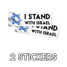 I Stand With Israel Jewish Jew Bumper Sticker - Christian Religion 2 Pack 3x9in