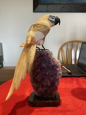 Hand-carved Brazilian Semi-precious Stone Parrot (H: 14in, W: 6in L: 6.5in)