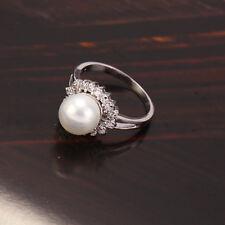 18k White/Rhodium Colour Shell Bead Women's Ring  - Size 5US