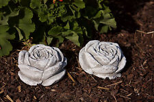 2 x Stone Blossom Frost Resistant Garden Decoration Casting Sculpture Rose