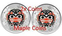 NEW! 2 x 2020 BILL REID Toonie $2 Color Canada Coin - Haida Grizzly Bear