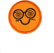 Smiley Face Patch iron on or sew on 4.7cm wide Bright Orange/black NEW