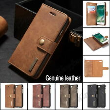 Premium Retro Genuine Leather Wallet Case Cover + Card Holder For Various Phones