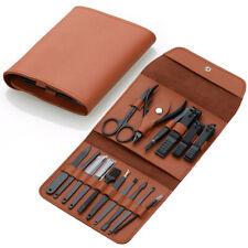 Stainless Steel 16pcs Nail Clipper Set Scissors Pedicure Menicure Tools +PU Case