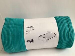 "Ikea Indira BLANKET Bedspread TURQUOISE TWIN 91 x 98"" 100%"