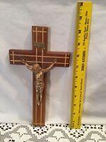 "Vintage 10"" Catholic INRI Church Wall Crucifix Wood & Brass Cross Jesus"