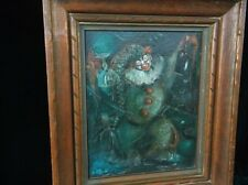 Drunk Clown Exhibited MCM Painting 1950s Fine Carved Frame National Arts Club
