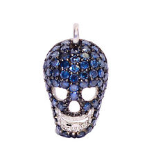 Pave Diamond 925 Sterling Silver Skull Charm Spacer Finding Halloween Jewelry