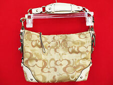 COACH F13980 Optic Signature Carly Khaki Off White Sateen Hardware HandBag Purse
