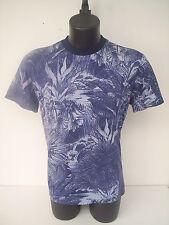 t-shirt roberto cavalli,giro collo,fantasia blue azzurra,tg 50
