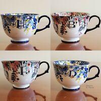 Anthropologie Tea Time Mug Cup Letter Monogram Floral NEW - YOU PICK