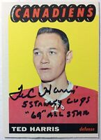 "*SIGNED* TED HARRIS (RC) 1965-66 TOPPS #5 INSCRIBED ""5 Stanley Cups/69 All Star"""