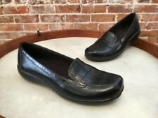 Clarks Bayou Navy Blue Leather & Croc Emobossed Loafers Flats New