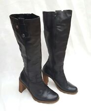 "BERTIE VERY DARK BLACKIE BROWN LEATHER BOOTS 3.5"" HEEL EU39 UK 6 - 6.5"