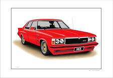 HOLDEN HZ  GTS  SEDAN  MONARO 308  V8   LIMITED EDITION CAR PRINT  ARTWORK