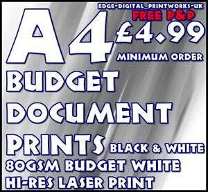 Black & White Only A4 DOCUMENT / PRINTING / ADVERTISING 80GSM A4 MONO