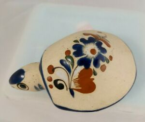 Vintage TONALA MEXICAN Pottery FOLK ART Tortoise / Turtle Hand Painted stoneware