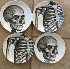 222 Fifth Anatomy Lesson Appetizer Plates Set Of 4 Skeleton & Skull Halloween