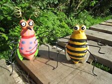 Fair Trade Hand Made Carved Wooden Wood Garden Bugs Statues Ornaments Set Of 2