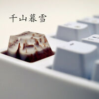Snow Mountain Landscape Keycaps Resin Wood Handmade Switch OEM R4 Key Cap For MX