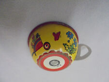 """Ohio Art Tin Play Cup, Flowers, Butterfly, Sprinkler, Cart, 1"""" Tall Vintage"""