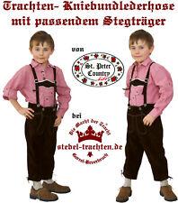 Lederhose Kniebundlederhose Träger Kinder Oktoberfest dunkelbraun  122-128