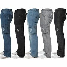 Enzo Mens Cargo Jeans Combat Trousers Casual Work Denim Pants Big Tall All Waist