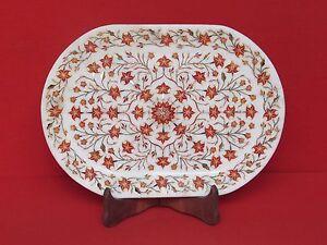 Marble Tray Inlay Work Handmade Craft Stone Pietra dura Home Decor and gift