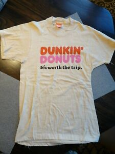 Vintage Dunkin' Donuts T-Shirt early 1980's Its Worth the Trip Medium Small Tan