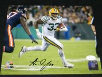 AARON JONES SIGNED AUTOGRAPHED GREEN BAY PACKERS VS BEARS 8x10 PHOTO JSA