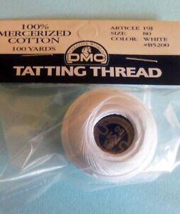 Size 80 DMC  Tatting Thread  White, Ecru, Red, Yellow, Purple, Pink, Black