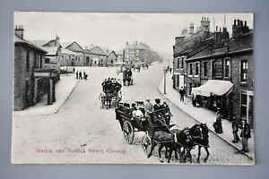 R&L Postcard:  Glossop Railway Station & Norfolk Street, Derbyshire, Briggs