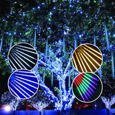 LED Meteorschauer Schneefall Eiszapfen 8 Rohr Lichterregen Lichterkette Außen DE