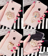 Shockproof Luxury Bling Diamond Hello Kitty Ring Holder Stand Clear Case Cover
